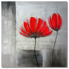 Free shipping, oil paintings on canvas abstraction red flower, modern home decoration. $15.00