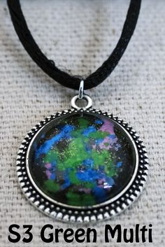 20mm Galaxy Necklace Multi colored with Green main by Fractured Infinity FracturedInfinity.etsy.com Space Jewelry, Infinity, Pendants, Pendant Necklace, Blue, Etsy, Color, Green, Infinite