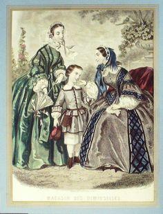 GRAVURE de MODE AUTHENTIQUE-N 50-MAGASIN DES DEMOISELLES-1854