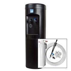 Clover Black Cook & Cold Water Cooler with Black POU Plus Install Kit