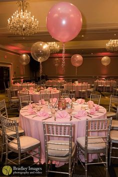 Balloon and book centerpieces at Lindsey's pink book themed Bat Mitzvah party at DoubleTree Bethesda | Pop Color Events | Adding a Pop of Color to Bar & Bat Mitzvahs in DC, MD & VA | Photo by Bradley Images