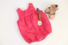 MH206 Key West Sunsuit Handloomed Gauze - Carnation Pink