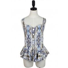 Graphic Painting Peplum Top (Blue)