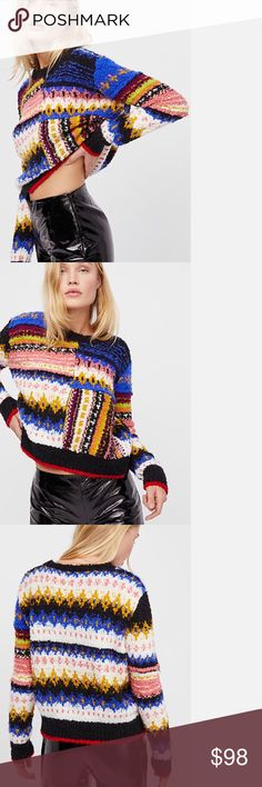 "Brand New Free People Multicolored sweater NWT Free People Super cozy pullover sweater featuring a multicolored design, boxy silhouette, cropped to the natural waist. NWT - Bust 40"" Length 22"" Sleeve Length 25""  - Size Small Free People Sweaters"