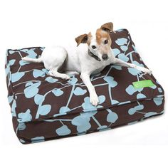 """Brown/Blue 5"""" Thick Soft/Firm Reversible Natural Latex Orthopedic Dog Bed"""
