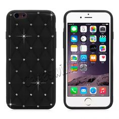 STENES Sparkle Case Compatible with iPhone 6 // iPhone 6S Stylish Black 3D Handmade Bling Panda Bamboo Leaf Design Cover with Screen Protector /& Cable Protector