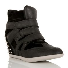 Black Sneaker Wedge with Spikes ($37) ❤ liked on Polyvore
