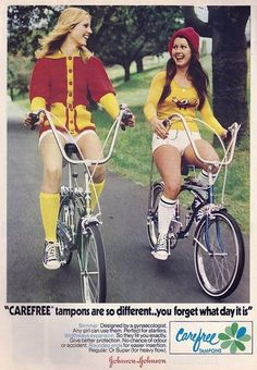 70s tampon ad...had to share this. Geez the white shorts, pants were already a gimmick back then.