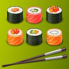 Descargar - Sushi set iconos — Ilustración de stock #18467467