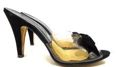 Black Suede Mule High Heels w/ Black Velvet Bow circa 1950s