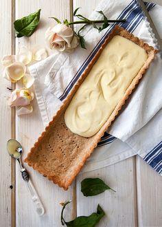 Meyer Lemon Cream White Chocolate Tart. Doesn't that sound fantastic. || #savedno #triedno