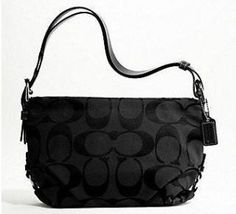 Coach Signature Duffle Shoulder Bag - Silver/Black/Black $240.00