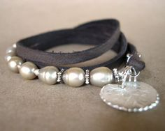 Pearl Leather Wrap Bracelet  Growth and by ChickpeaDesignStudio, $45.00  Have it, LOVE it!