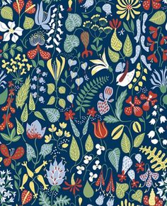 Scandinavian Designers (2744) - Boråstapeter Wallpapers - Colourful prints of an array of flowers and herbs. Shown here in multicoloured on a navy blue background - more colours are available. Please request a sample for true colour match. Paste-the-wall product.