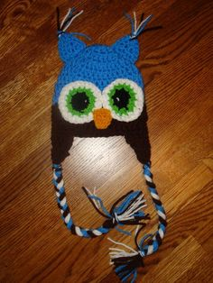 No Pattern, Idea only  Crochet Hoot Owl Hat in Blue and Brown