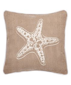 Starfish Burlap Throw Pillow Beach House Coastal Chic