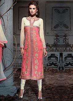 Cream N Pink Embroidered Straight Suit
