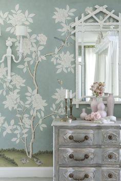 Gracie l Hampton Garden l this is the one Gracie Wallpaper, Dark Wood Bed, Hampton Garden, Blue Accent Walls, Chinese Wallpaper, Chinoiserie Wallpaper, Chinoiserie Chic, Hand Painted Wallpaper, Interior And Exterior