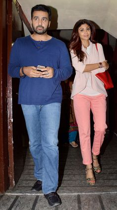 Shilpa Shetty and hubby Raj Kundra on a movie outing. #Bollywood #Fashion #Style #Beauty