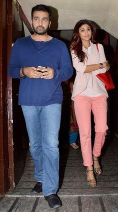Shilpa Shetty and hubby Raj Kundra on a movie outing. #Bollywood #Fashion #Style #Beauty
