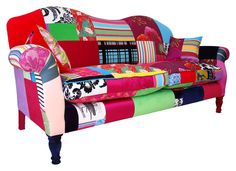 The Simpson sofa made in England to commission. Fabrics used include woven silks, velvets and printed and woven cottons.  Many more examples here.