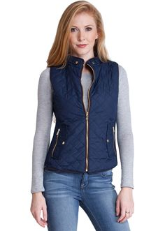 Quilted Padded Zipper Vest J1409NB, clothing, clothes, womens clothing, jeans, tops, womens dress