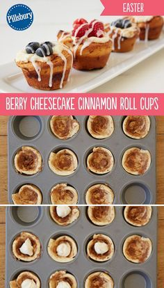 The delicious brunch treat you've been looking for for Easter! These bite-size Berry Cheesecake Cinnamon Roll Cups are easy to make and taste amazing. Cinnamon rolls topped with berries and icing is the perfect breakfast treat to celebrate any special occasion.