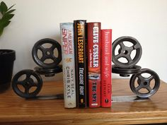 Handmade Industrial Pulley Bookends by AffaDotDesigns on Etsy