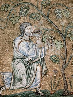 Byzantine Art, Noah Drinking Wine Mosaic, Baptistery of St. Mark's Basilica, Venice, Italy