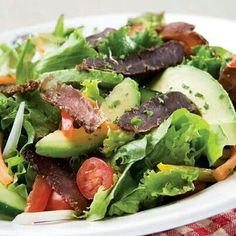 Toby's salad with Toby's Beef Snacks. So easy to make and DELICIOUS!