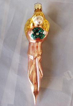 Vtg Mercury Blown Glass Pink Gold Tone Angel Christmas Ornament Made In Germany