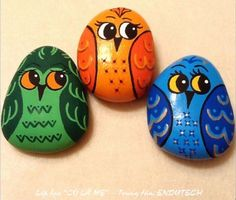 easy rock painting for kids ~ crafts Rock Painting Patterns, Rock Painting Ideas Easy, Rock Painting Designs, Painting For Kids, Art For Kids, Diy Painting, Painted Rocks Owls, Owl Rocks, Painted Rock Animals