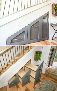 Creative Living Room Storage - 40 Tiny House Storage and Organizing Ideas for the Entire Home. Tiny House Stairs, Tiny House Living, Tiny House Plans, Staircase Storage, Stair Storage, Tiny House Layout, Tiny House Design, Tiny House Storage, Tiny House Bathroom