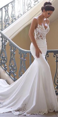 Latest No Cost Charming Tulle & Acetate Satin Spaghetti Straps Neckline Mermaid Wedding Dresses - Wedding and Bride Suggestions Beautiful Wedding Dresses ! The current wedding dresses 2019 contains twelve different dresses in th Top Wedding Dresses, Country Wedding Dresses, Wedding Dress Trends, Wedding Gowns, Tulle Wedding, Backless Wedding, Wedding White, Satin Mermaid Wedding Dress, Weeding Dresses