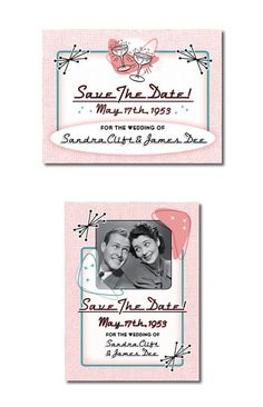 Fabulous Fifties Vintage Wedding Save The Date cards & magnets are a fun way to add some retro style to your event.  In classic pink and blue, it's great for a 50s Rock N Roll, Sock Hop, Grease, or American Graffiti theme wedding,  or for any couple that loves classic cars, atomic age, and that fabulous 1950s style.