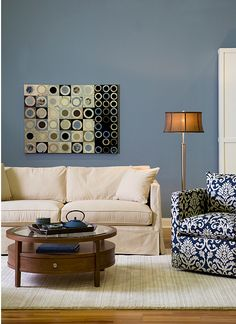 blue, brown, beige, green, blue, orange, prints - living room