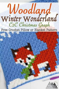 The final charts in my Woodland Winter Wonderland Corner to corner Blanket. Crochet these border and add them to this beautiful blanket. Crochet C2c Pattern, C2c Crochet Blanket, Crochet Fox, Manta Crochet, Crochet Pillow, Crochet Chart, Crochet Squares, Crochet Blanket Patterns, Crochet Stitches