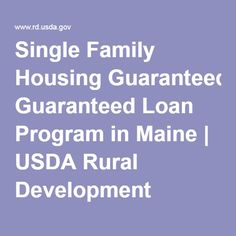 Single Family Housing Guaranteed Loan Program in Maine | USDA Rural Development