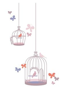 14 stickers cages aux oiseaux fille Envolée ROSE - vertbaudet enfant