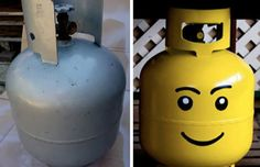 No need to hide that ugly propane tank. Just turn it into a lego head!