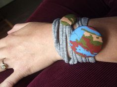 Fabric covered button bracelet