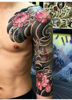 New Tattoo Sleeve Koi Irezumi Ideas Asian Tattoos, Arm Tattoos, Body Art Tattoos, Tribal Tattoos, Irezumi Tattoos, Polynesian Tattoos, Geometric Tattoos, Tattoo Arm, Tattos