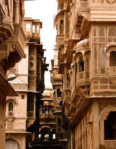 """Located in India's Thar Desert in Rajasthan, the """"Golden City"""" of Jaisalmer gets its colour from buildings made of yellow sandstone (especially glowy at sunset)."""