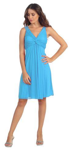 Knee Length Chiffon Bridesmaid Dress Turquoise Empire Thick Strap