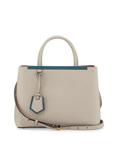 V2Q4S Fendi 2Jours Calf Leather Petite Tote Bag, Powder