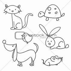 Image 3538889: Hand drawn cartoon pets from Crestock Stock Photos
