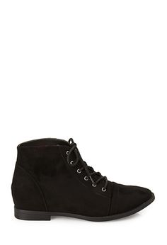 Faux Suede Lace-Up Booties | FOREVER21 - 2000120154
