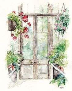 """Greenhouse Painting - Print from Original Watercolor Painting, """"Greenhouse"""", Garden Art, Red Geranium on Etsy, $12.00"""