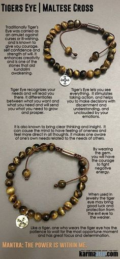 #BEADED #Yoga #BRACELETS ♛ #Tigers #Eye lets you see everything. It stimulates taking action and is a #totem of good luck. #Cross #Eckhart #Tolle #charm #Crystals #Energy #gifts #Handmade #Healing #Kundalini #Law #Attraction #LOA #Love #Mala #Meditation http://kundaliniyogameditation.com/