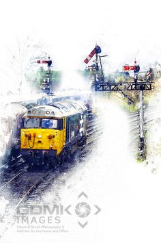 Class 50 loco 50049 Digital Art.Digital art showing English Electric Class 50 loco 50049 Defiance in a 1980s setting under GWR lower quadrant signals #digitalart #englishelectric #railways #railroads #class50 #1980s. Available to buy on 20+ different products including #canvas #acrylic wooden blocks or #framed